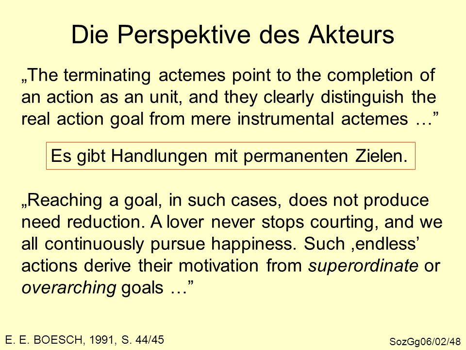 """Die Perspektive des Akteurs SozGg06/02/48 E. E. BOESCH, 1991, S. 44/45 """"The terminating actemes point to the completion of an action as an unit, and t"""