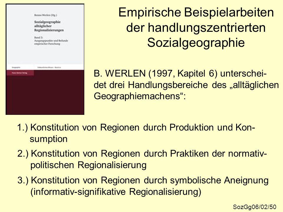 Empirische Beispielarbeiten der handlungszentrierten Sozialgeographie SozGg06/02/50 B. WERLEN (1997, Kapitel 6) unterschei- det drei Handlungsbereiche