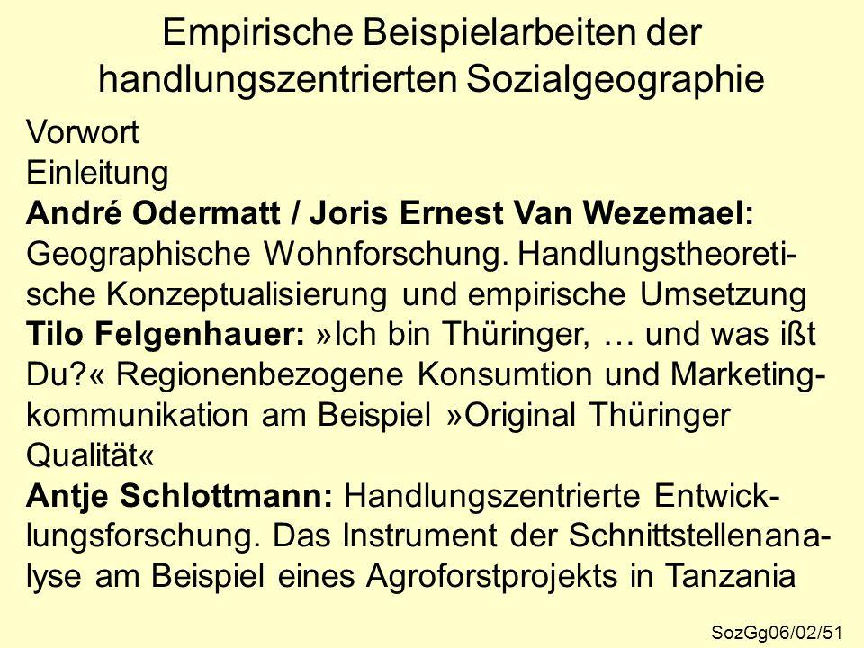 Empirische Beispielarbeiten der handlungszentrierten Sozialgeographie Vorwort Einleitung André Odermatt / Joris Ernest Van Wezemael: Geographische Woh