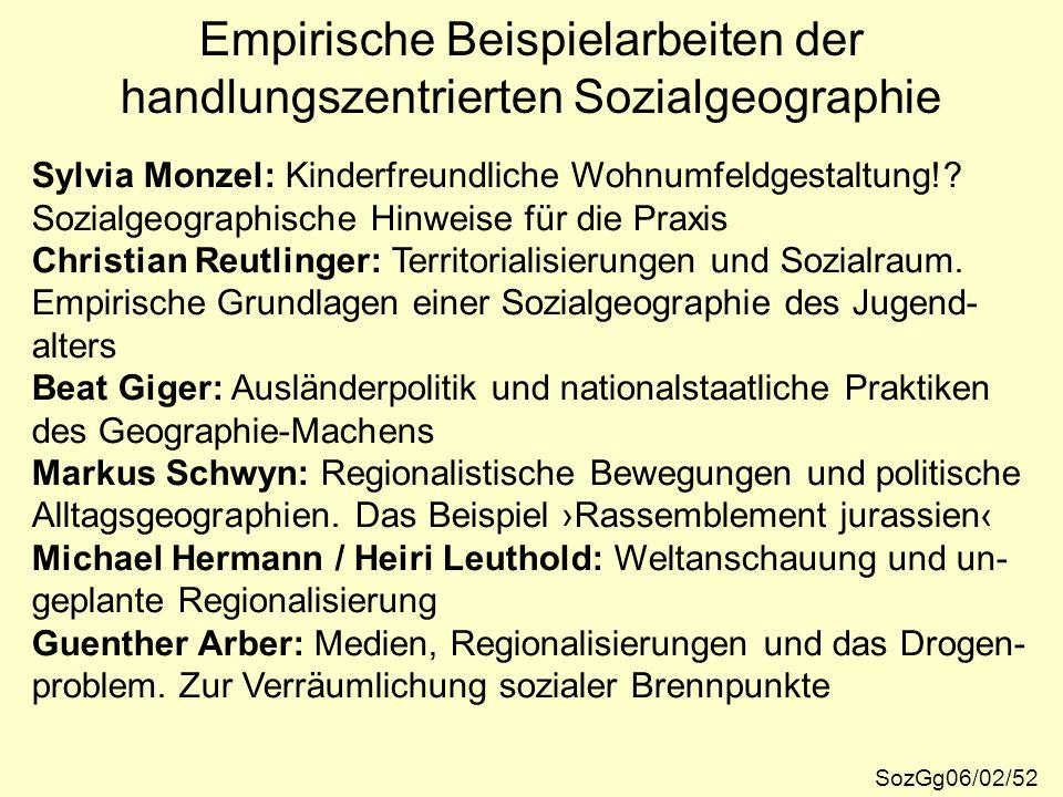 Empirische Beispielarbeiten der handlungszentrierten Sozialgeographie SozGg06/02/52 Sylvia Monzel: Kinderfreundliche Wohnumfeldgestaltung!? Sozialgeog