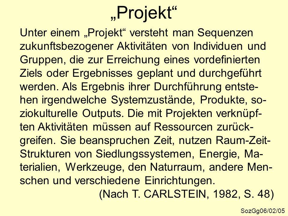 """""""Projekt"""" SozGg06/02/05 Unter einem """"Projekt"""" versteht man Sequenzen zukunftsbezogener Aktivitäten von Individuen und Gruppen, die zur Erreichung eine"""