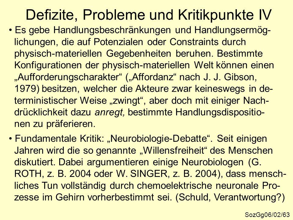 Defizite, Probleme und Kritikpunkte IV SozGg06/02/63 Es gebe Handlungsbeschränkungen und Handlungsermög- lichungen, die auf Potenzialen oder Constrain