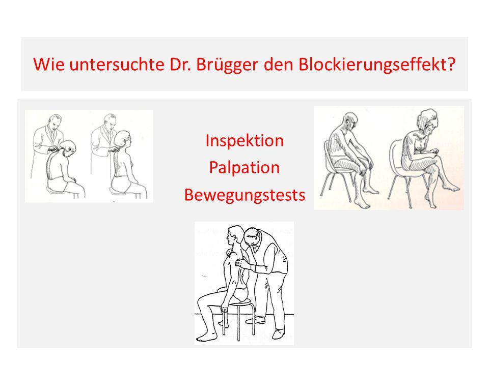 Wie untersuchte Dr. Brügger den Blockierungseffekt? Inspektion Palpation Bewegungstests