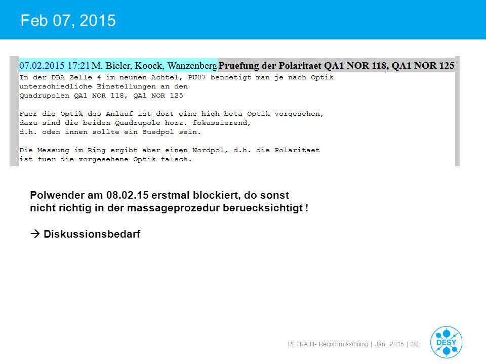 PETRA III- Recommissioning | Jan. 2015 | 30 Feb 07, 2015 Polwender am 08.02.15 erstmal blockiert, do sonst nicht richtig in der massageprozedur beruec