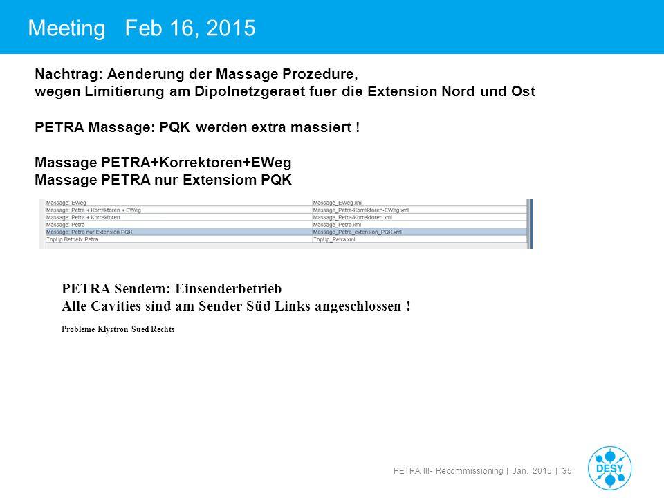PETRA III- Recommissioning | Jan. 2015 | 35 Meeting Feb 16, 2015 Nachtrag: Aenderung der Massage Prozedure, wegen Limitierung am Dipolnetzgeraet fuer