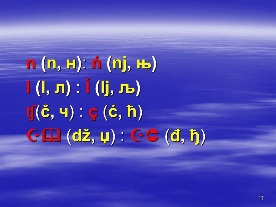 11 n (n, н): ń (nj, њ) l (l, л) : ĺ (lј, љ) ʧ (č, ч) : ç (ć, ћ)  (dž, џ) :  (đ, ђ)