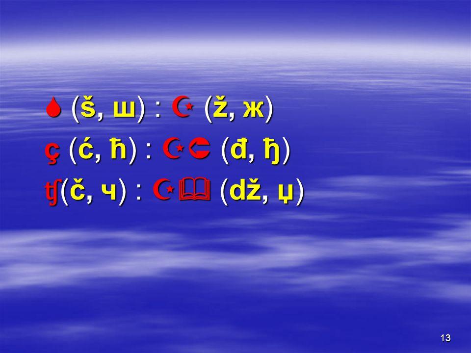 13  (š, ш) :  (ž, ж) ç (ć, ћ) :  (đ, ђ) ʧ (č, ч) :  (dž, џ)