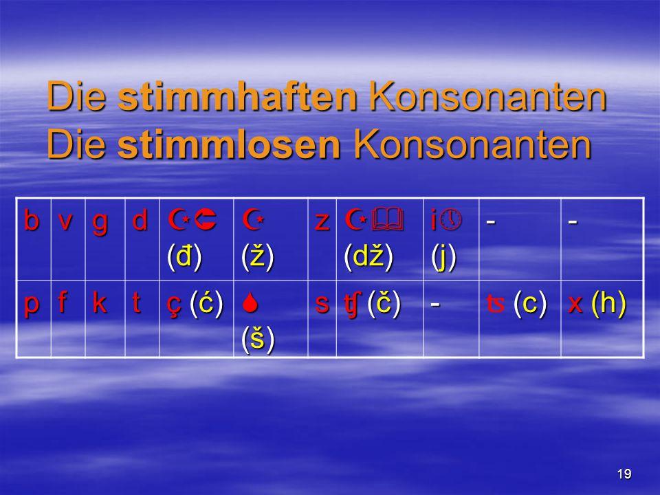19 bvgd (đ)(đ)(đ)(đ) (ž)(ž)(ž)(ž)z  (dž) i(j)i(j)i(j)i(j)-- pfkt ç (ć)ç (ć)ç (ć)ç (ć) (š)(š)(š)(š)s ʧ (č)ʧ (č)ʧ (č)ʧ (č)- (c)ʦ (c)(c)ʦ (c) x (h) Die stimmhaften Konsonanten Die stimmlosen Konsonanten