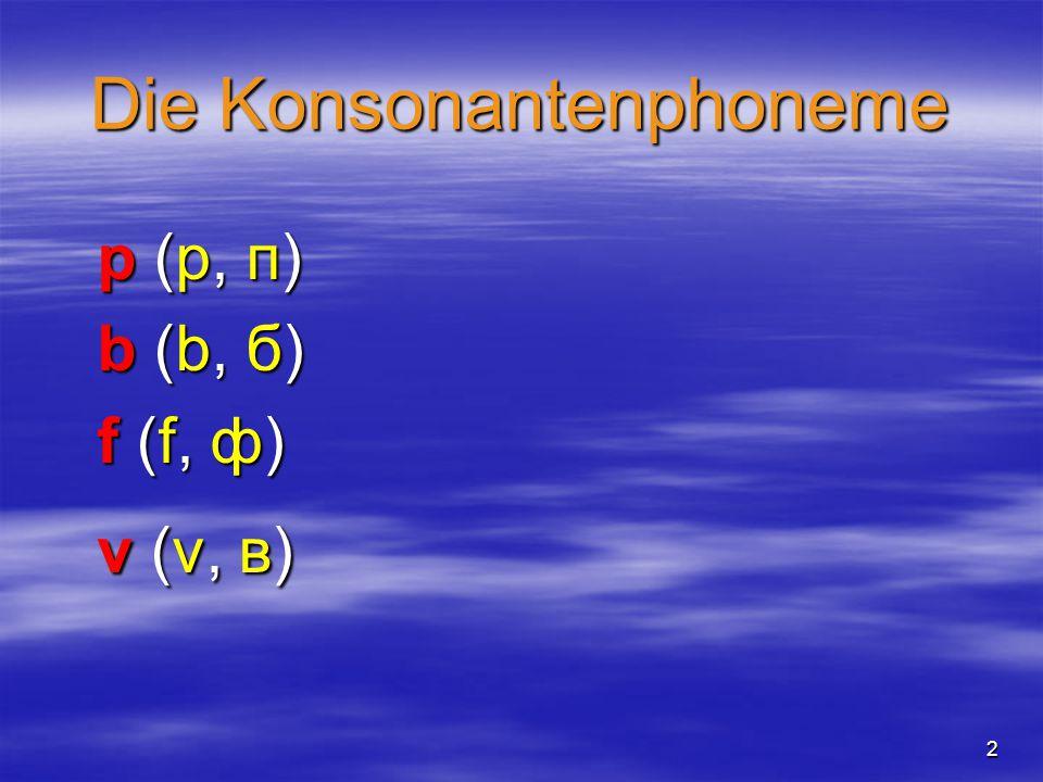 2 Die Konsonantenphoneme p (p, п)p (p, п)b (b, б)b (b, б)f (f, ф)f (f, ф)v (v, в)v (v, в)p (p, п)p (p, п)b (b, б)b (b, б)f (f, ф)f (f, ф)v (v, в)v (v, в)