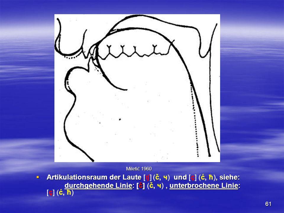 61  Artikulationsraum der Laute und, siehe:  Artikulationsraum der Laute [ ʧ ] (č, ч) und [ç] (ć, ћ), siehe: durchgehende Linie: [č], unterbrochene Linie: durchgehende Linie: [č] (č, ч), unterbrochene Linie: [ç] (ć, ћ) Miletić 1960