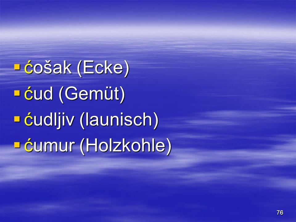 76  ćošak (Ecke)  ćud (Gemüt)  ćudljiv (launisch)  ćumur (Holzkohle)