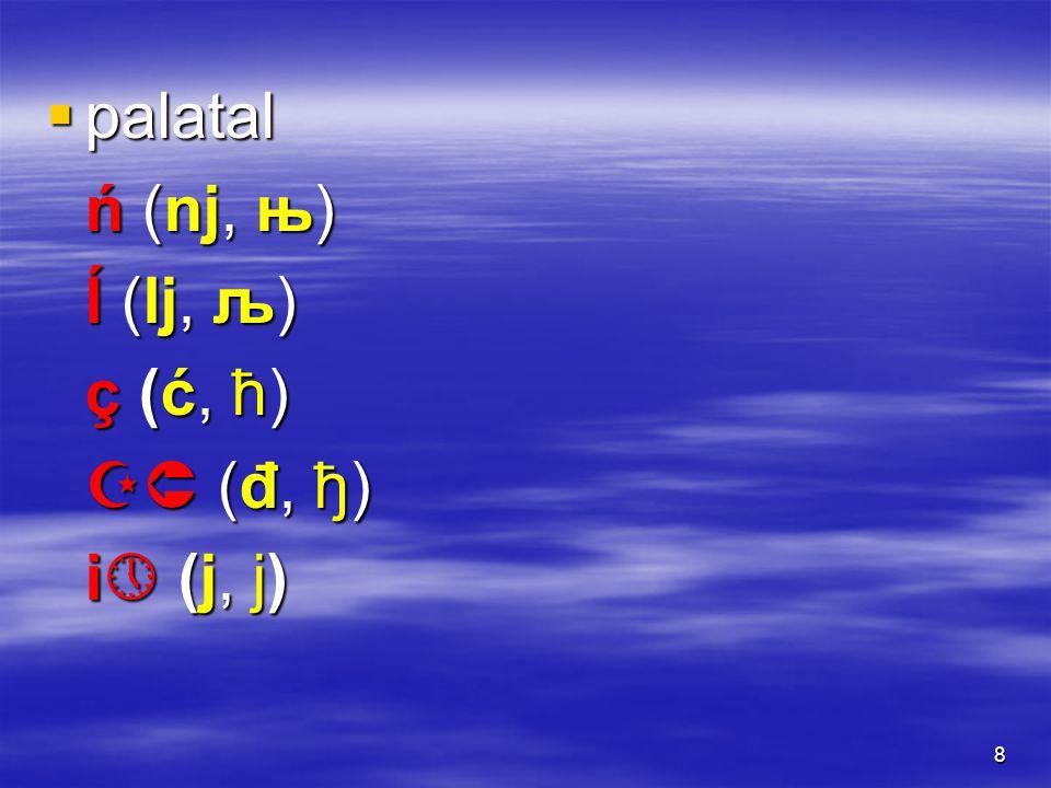 89 l (l, л) – ĺ (lj, љ) boli – bolji ludi – ljudi dole – dolje mal (čovjek) – malj (Stampfer) (oni) vole – (bez) volje