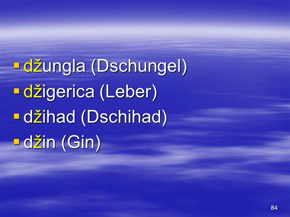 84  džungla (Dschungel)  džigerica (Leber)  džihad (Dschihad)  džin (Gin)