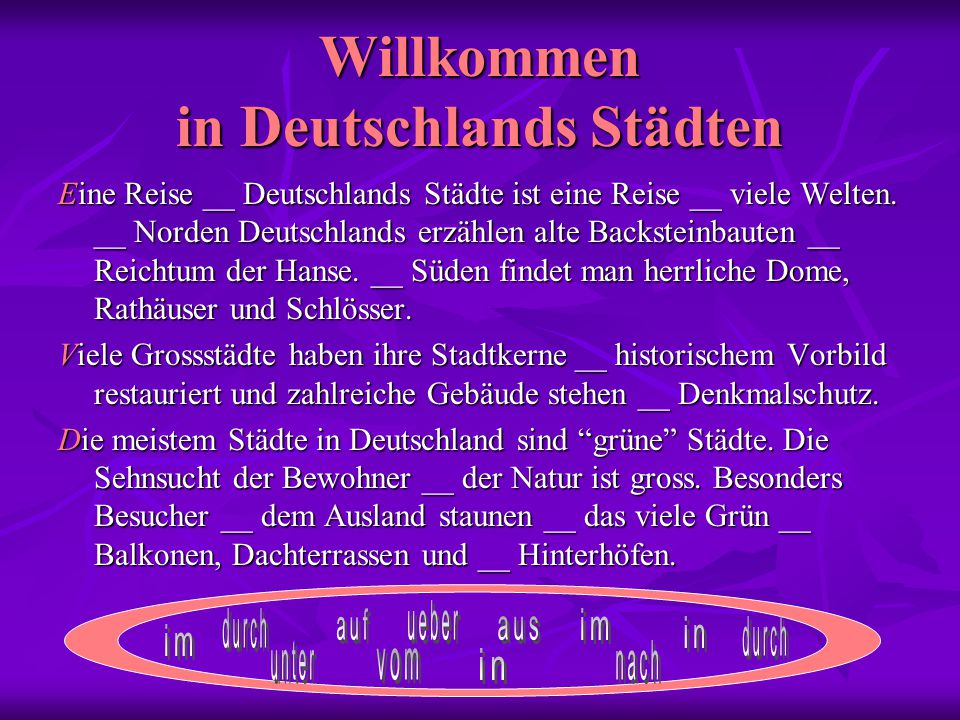 Willkommen in Deutschlands Städten Eine Reise __ Deutschlands Städte ist eine Reise __ viele Welten.