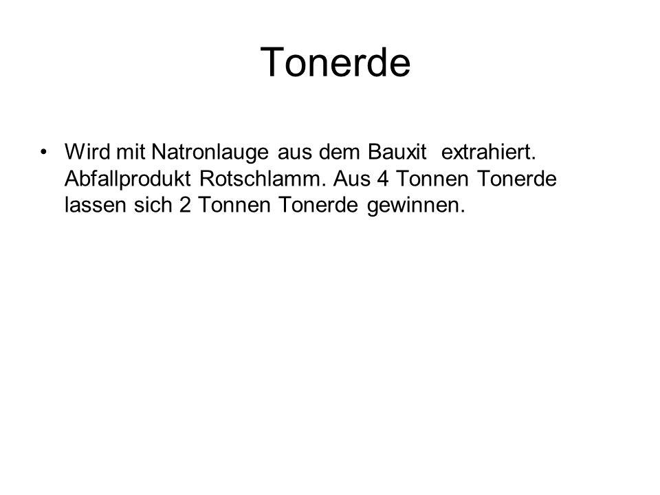 Tonerde Wird mit Natronlauge aus dem Bauxit extrahiert. Abfallprodukt Rotschlamm. Aus 4 Tonnen Tonerde lassen sich 2 Tonnen Tonerde gewinnen.