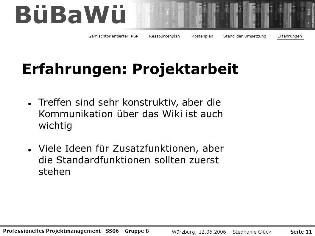Professionelles Projektmanagement - SS06 - Gruppe 8 Erfahrungen: Projektarbeit ● Treffen sind sehr konstruktiv, aber die Kommunikation über das Wiki i