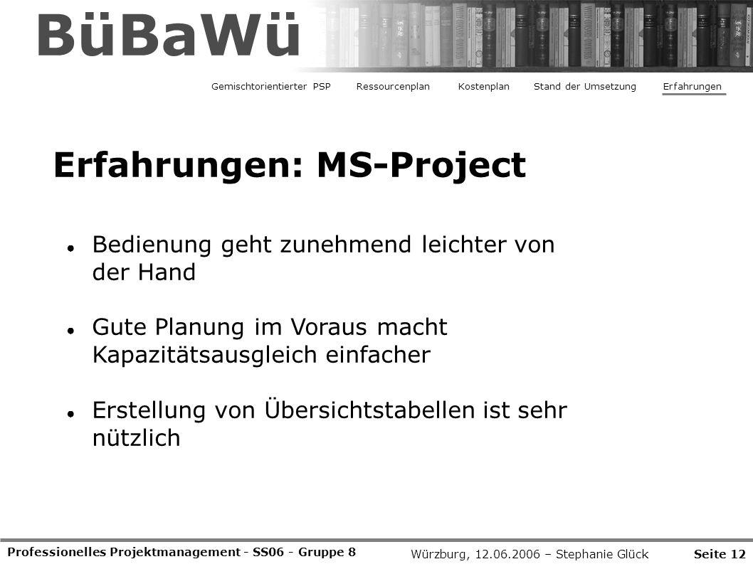Professionelles Projektmanagement - SS06 - Gruppe 8 Seite 12Würzburg, 12.06.2006 – Stephanie Glück BüBaWü Erfahrungen: MS-Project Gemischtorientierter
