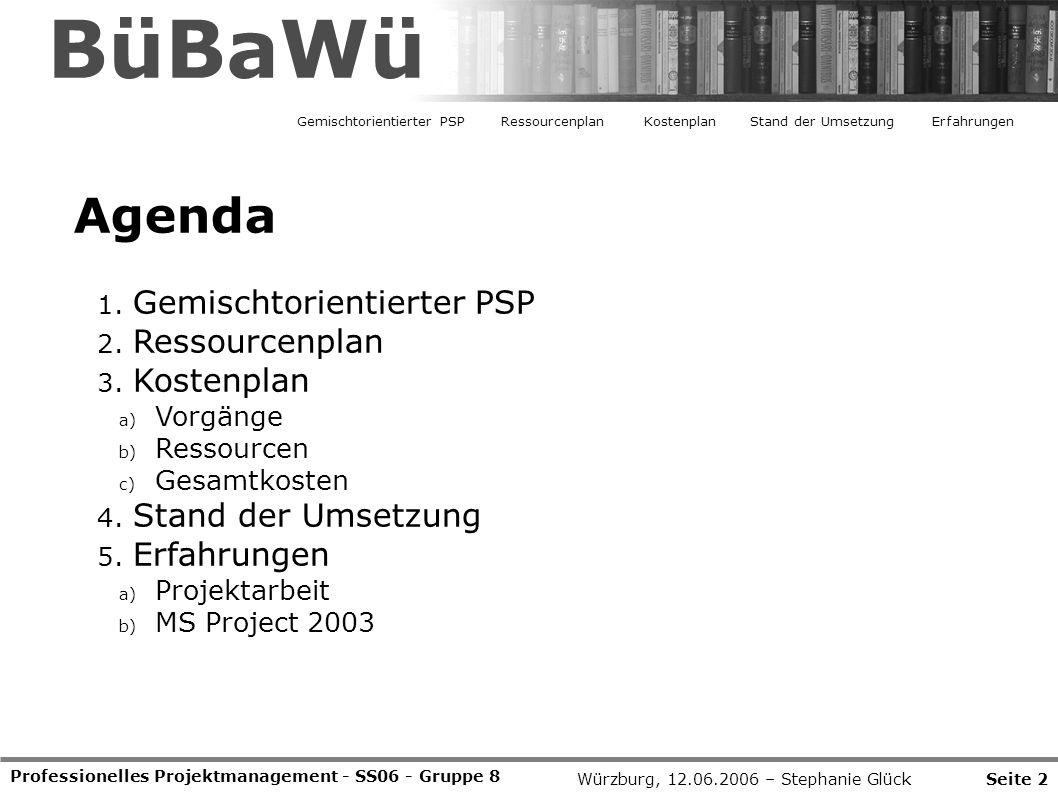 Professionelles Projektmanagement - SS06 - Gruppe 8 Agenda 1. Gemischtorientierter PSP 2. Ressourcenplan 3. Kostenplan a) Vorgänge b) Ressourcen c) Ge