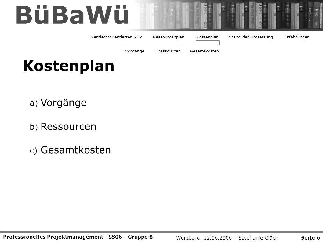 Professionelles Projektmanagement - SS06 - Gruppe 8 Kostenplan Seite 6Würzburg, 12.06.2006 – Stephanie Glück BüBaWü Gemischtorientierter PSPRessourcen