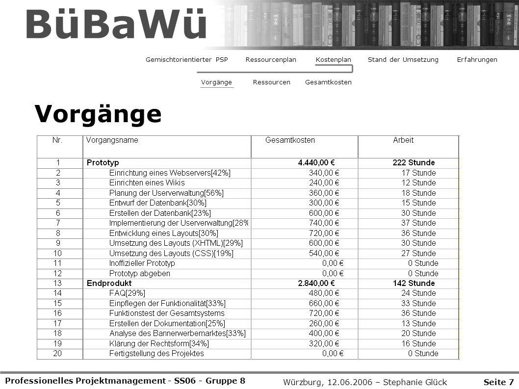 Professionelles Projektmanagement - SS06 - Gruppe 8 Vorgänge Seite 7Würzburg, 12.06.2006 – Stephanie Glück BüBaWü Gemischtorientierter PSPRessourcenpl