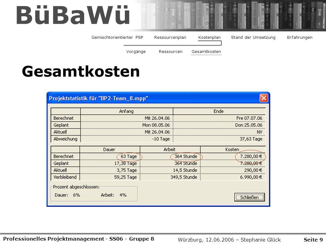 Professionelles Projektmanagement - SS06 - Gruppe 8 Seite 9Würzburg, 12.06.2006 – Stephanie Glück BüBaWü Gesamtkosten Gemischtorientierter PSPRessourcenplanStand der UmsetzungErfahrungenKostenplan VorgängeRessourcenGesamtkosten