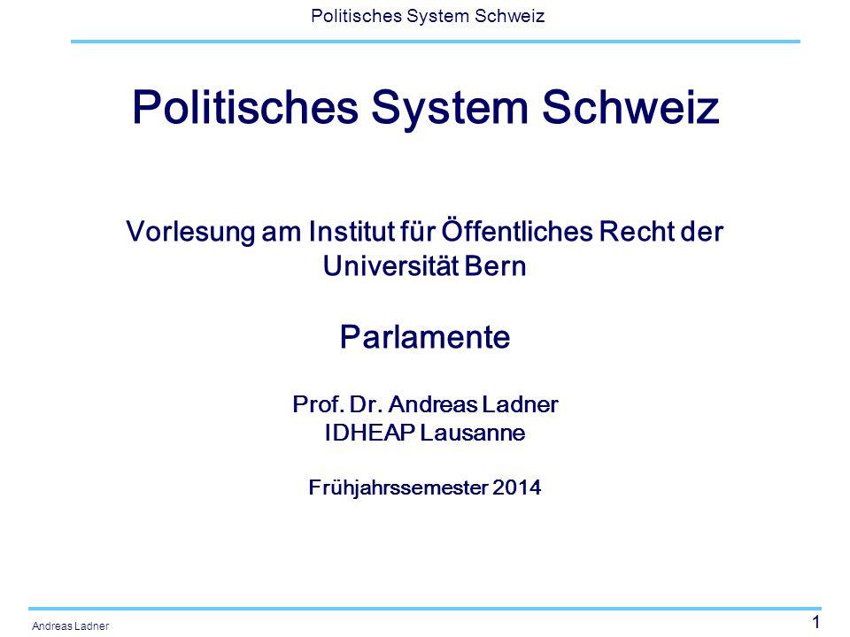 1 Politisches System Schweiz Andreas Ladner Politisches System Schweiz Vorlesung am Institut für Öffentliches Recht der Universität Bern Parlamente Pr