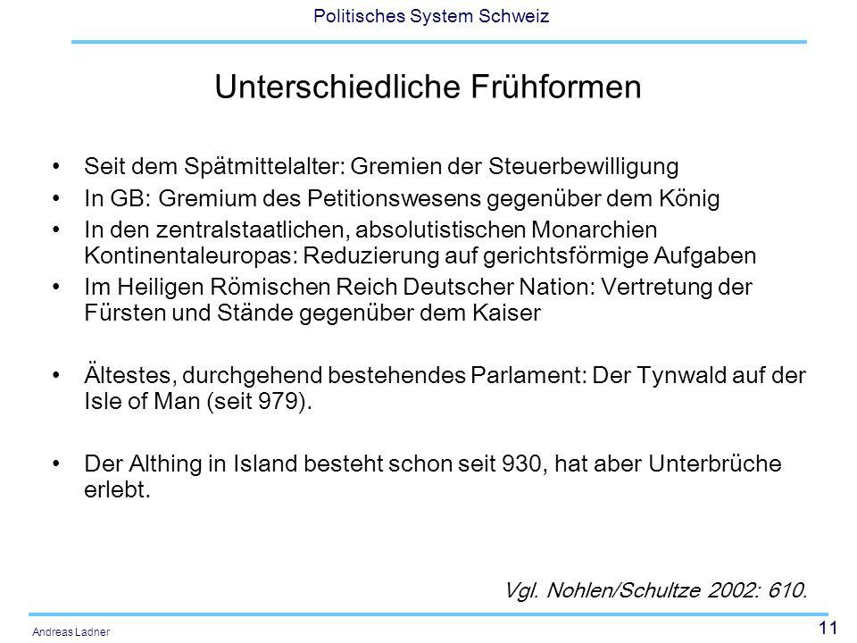 11 Politisches System Schweiz Andreas Ladner Unterschiedliche Frühformen Seit dem Spätmittelalter: Gremien der Steuerbewilligung In GB: Gremium des Pe