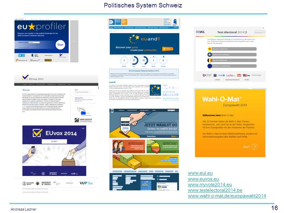 16 Politisches System Schweiz Andreas Ladner www.eui.eu www.euvox.eu www.myvote2014.eu www.testelectoral2014.be www.wahl-o-mat.de/europawahl2014