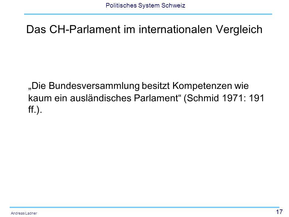 """17 Politisches System Schweiz Andreas Ladner Das CH-Parlament im internationalen Vergleich """"Die Bundesversammlung besitzt Kompetenzen wie kaum ein aus"""