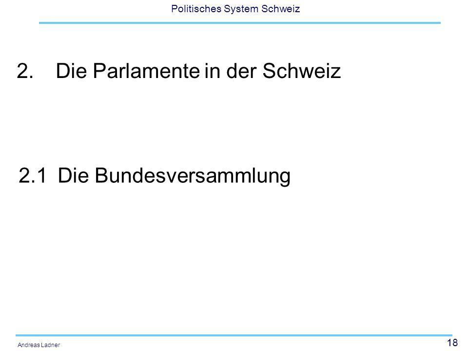 18 Politisches System Schweiz Andreas Ladner 2.Die Parlamente in der Schweiz 2.1Die Bundesversammlung
