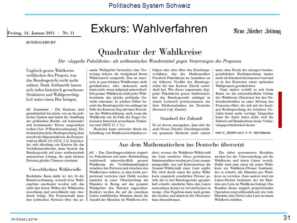 31 Politisches System Schweiz Andreas Ladner Exkurs: Wahlverfahren