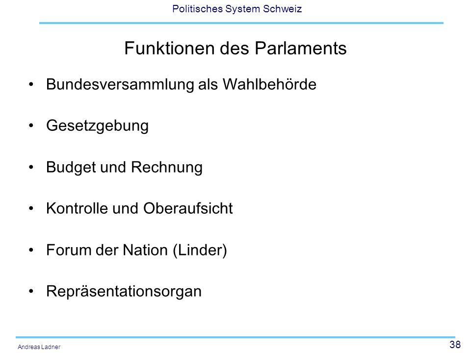 38 Politisches System Schweiz Andreas Ladner Funktionen des Parlaments Bundesversammlung als Wahlbehörde Gesetzgebung Budget und Rechnung Kontrolle un