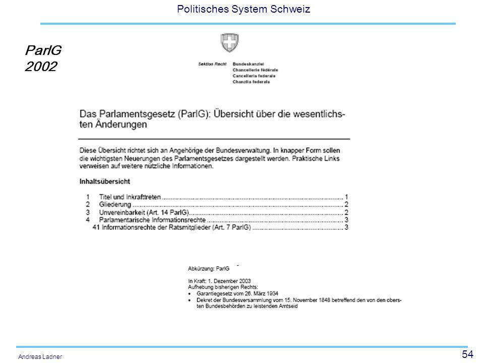 54 Politisches System Schweiz Andreas Ladner ParlG 2002