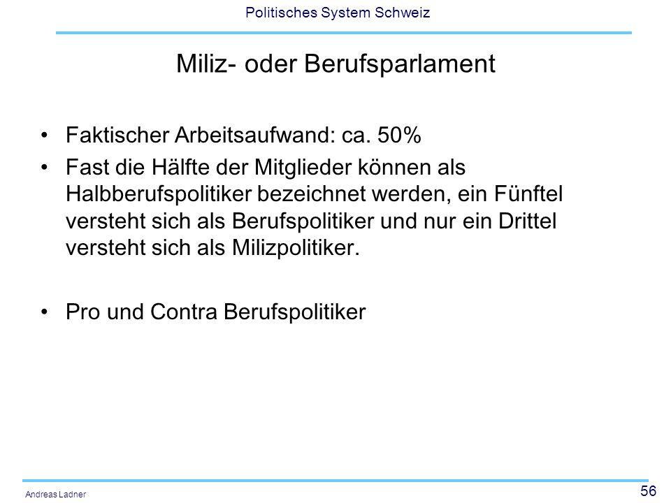 56 Politisches System Schweiz Andreas Ladner Miliz- oder Berufsparlament Faktischer Arbeitsaufwand: ca. 50% Fast die Hälfte der Mitglieder können als