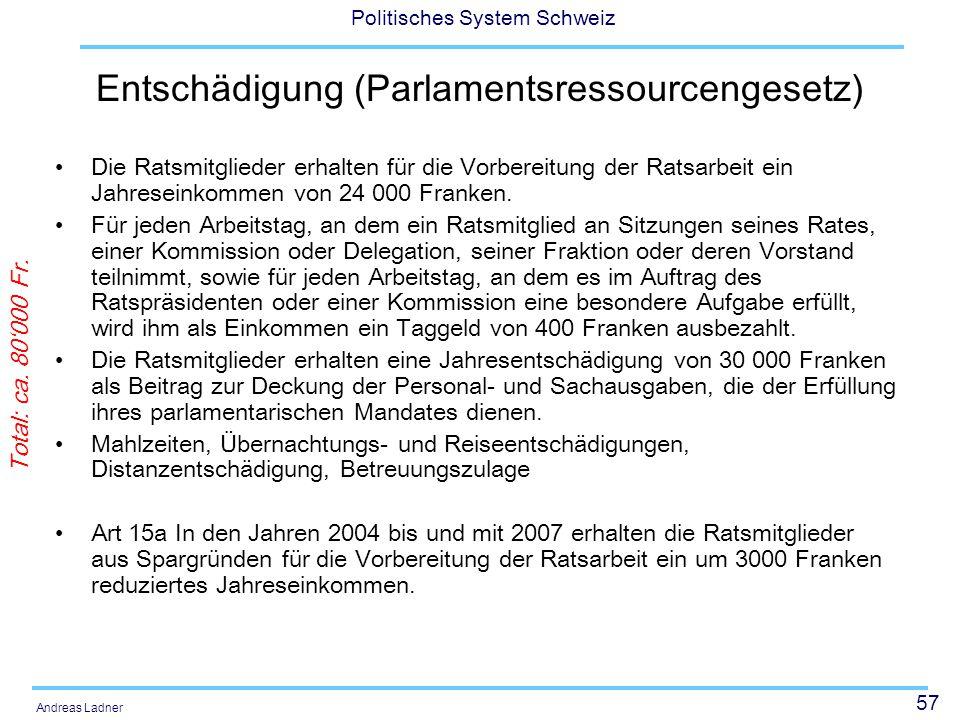 57 Politisches System Schweiz Andreas Ladner Entschädigung (Parlamentsressourcengesetz) Die Ratsmitglieder erhalten für die Vorbereitung der Ratsarbei