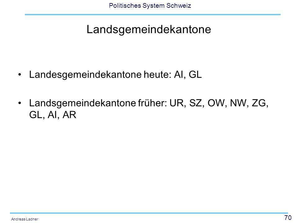 70 Politisches System Schweiz Andreas Ladner Landsgemeindekantone Landesgemeindekantone heute: AI, GL Landsgemeindekantone früher: UR, SZ, OW, NW, ZG,