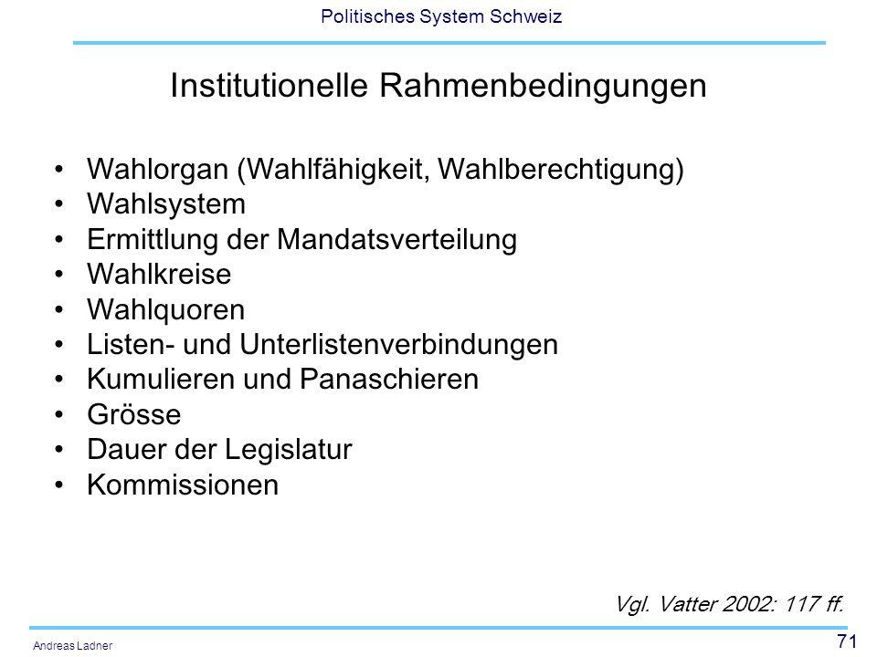 71 Politisches System Schweiz Andreas Ladner Institutionelle Rahmenbedingungen Wahlorgan (Wahlfähigkeit, Wahlberechtigung) Wahlsystem Ermittlung der M