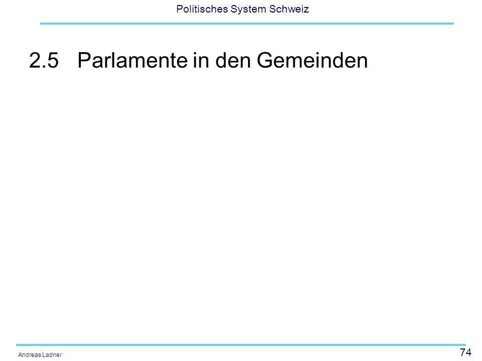 74 Politisches System Schweiz Andreas Ladner 2.5Parlamente in den Gemeinden