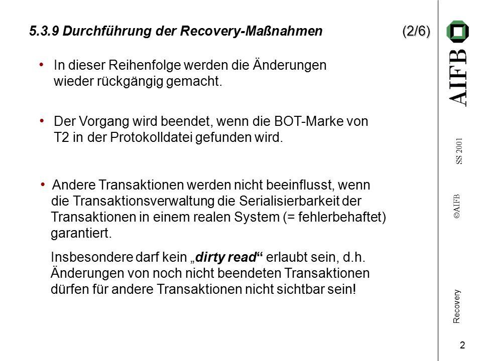 Recovery    AIFB SS 2001 3 (3/6) 5.3.9 Durchführung der Recovery-Maßnahmen(3/6) System-Fehler (SF) T1 T2 T3 T4 T5 ZeitDB Start Crash