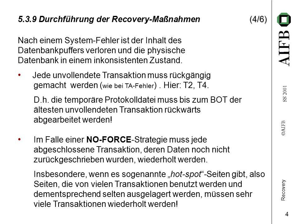 Recovery    AIFB SS 2001 4 (4/6) 5.3.9 Durchführung der Recovery-Maßnahmen(4/6) Nach einem System-Fehler ist der Inhalt des Datenbankpuffers verloren und die physische Datenbank in einem inkonsistenten Zustand.