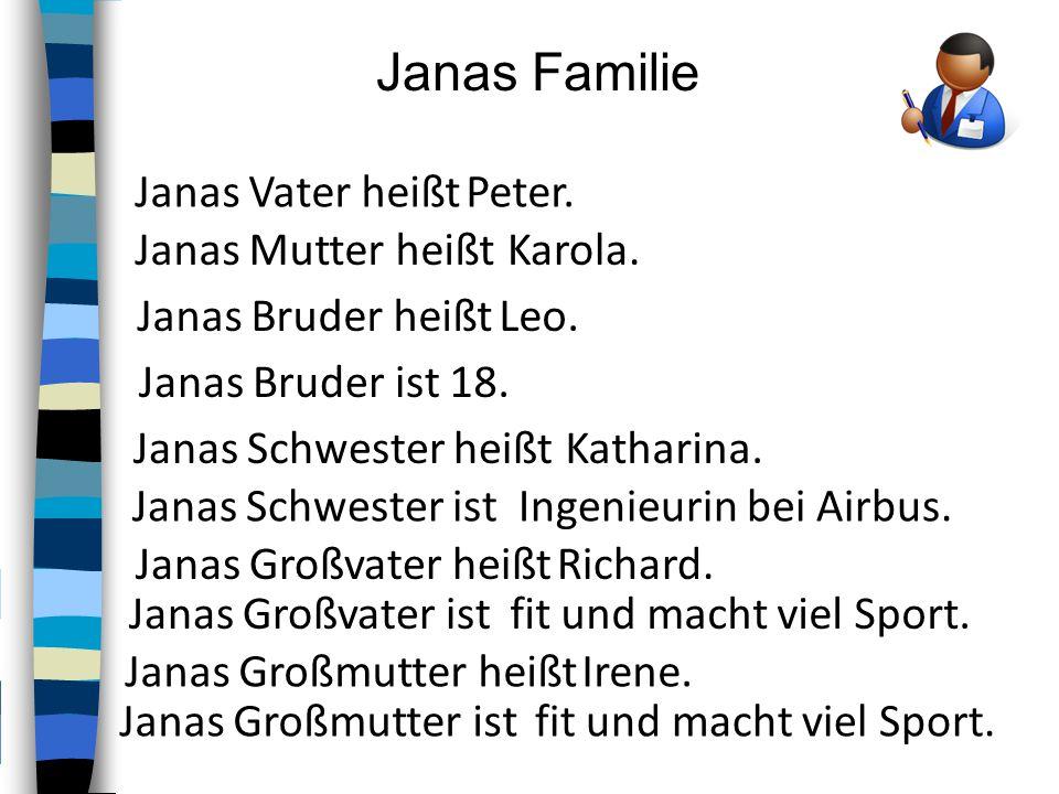 Janas Familie Janas Vater heißt Janas Mutter heißt Janas Bruder heißt Janas Bruder ist Janas Schwester heißt Janas Schwester ist Janas Großvater heißt