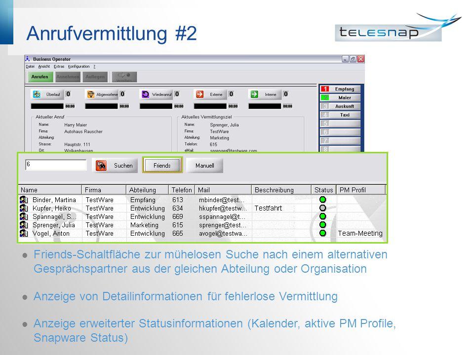 Anrufvermittlung #2 Friends-Schaltfläche zur mühelosen Suche nach einem alternativen Gesprächspartner aus der gleichen Abteilung oder Organisation Anzeige von Detailinformationen für fehlerlose Vermittlung Anzeige erweiterter Statusinformationen (Kalender, aktive PM Profile, Snapware Status)