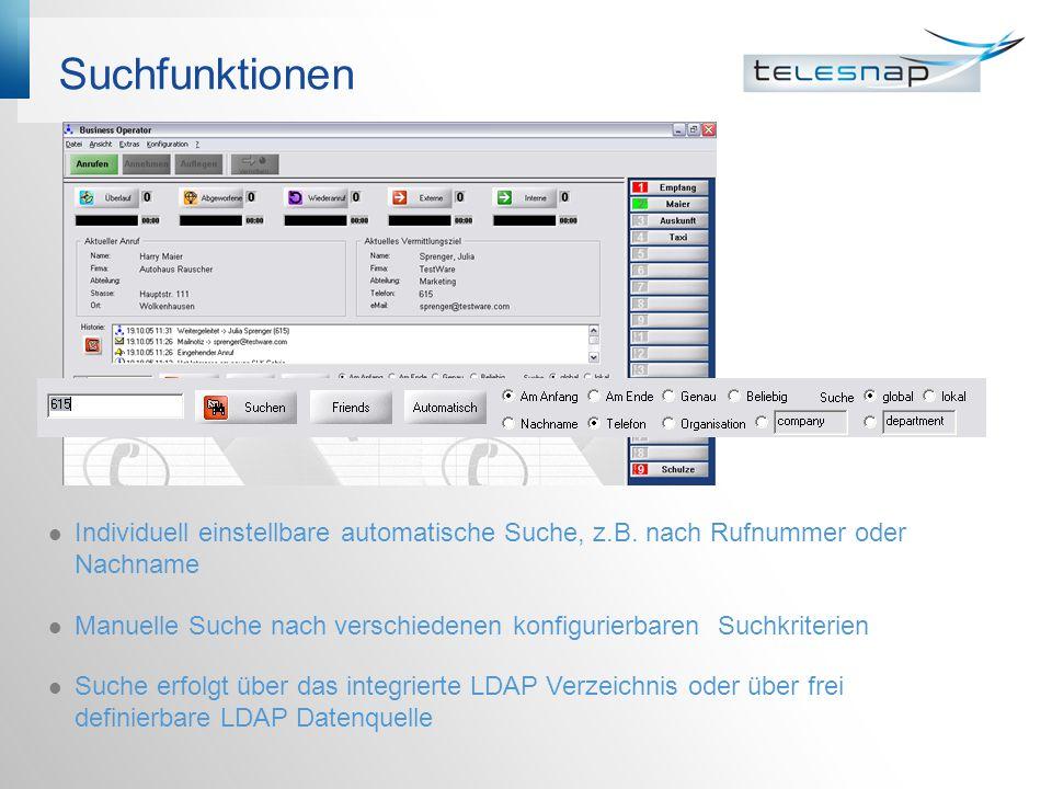 Suchfunktionen Individuell einstellbare automatische Suche, z.B.