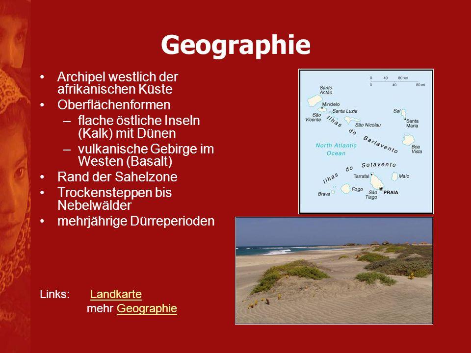 Geographie Archipel westlich der afrikanischen Küste Oberflächenformen –flache östliche Inseln (Kalk) mit Dünen –vulkanische Gebirge im Westen (Basalt