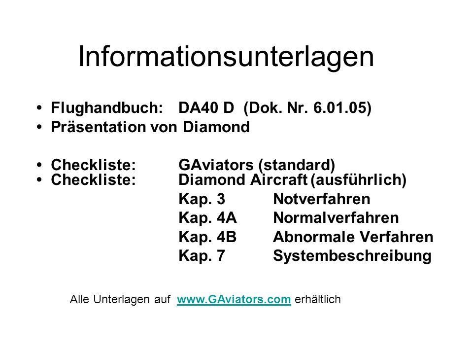 Informationsunterlagen Flughandbuch:DA40 D (Dok. Nr. 6.01.05) Präsentation von Diamond Checkliste: GAviators (standard) Checkliste:Diamond Aircraft (a