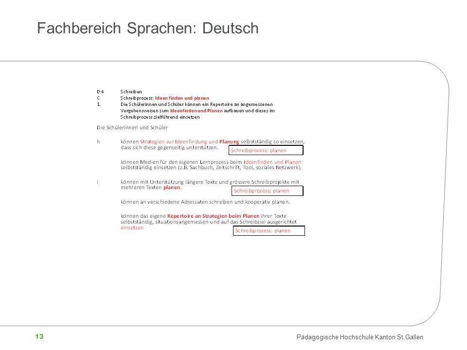 13 Pädagogische Hochschule Kanton St.Gallen Fachbereich Sprachen: Deutsch