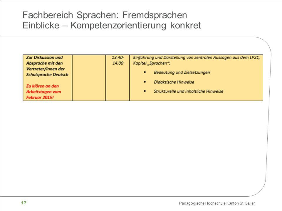 17 Pädagogische Hochschule Kanton St.Gallen Fachbereich Sprachen: Fremdsprachen Einblicke – Kompetenzorientierung konkret