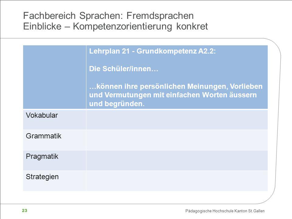 23 Pädagogische Hochschule Kanton St.Gallen Fachbereich Sprachen: Fremdsprachen Einblicke – Kompetenzorientierung konkret Lehrplan 21 - Grundkompetenz