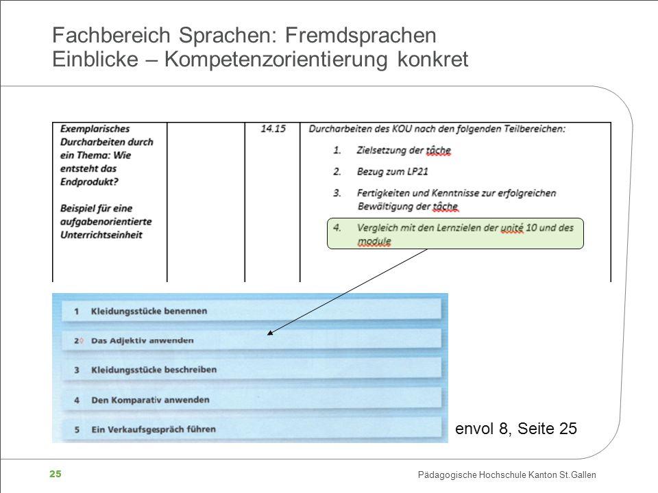 25 Pädagogische Hochschule Kanton St.Gallen Fachbereich Sprachen: Fremdsprachen Einblicke – Kompetenzorientierung konkret envol 8, Seite 25