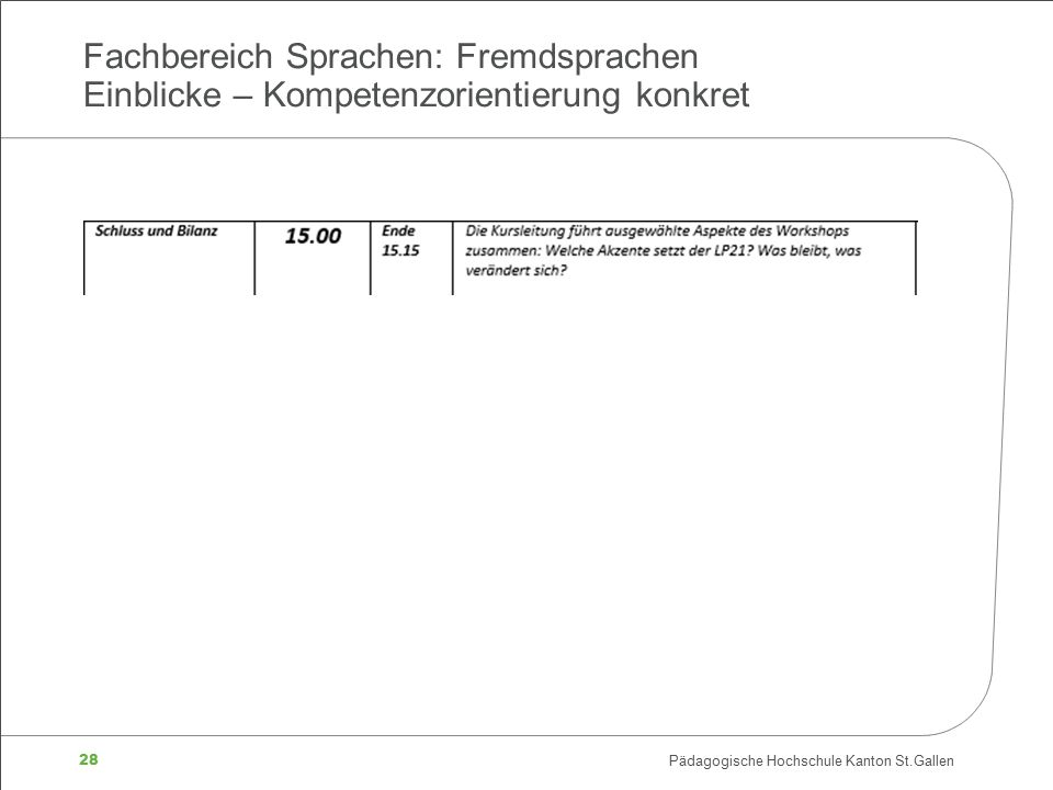 28 Pädagogische Hochschule Kanton St.Gallen Fachbereich Sprachen: Fremdsprachen Einblicke – Kompetenzorientierung konkret
